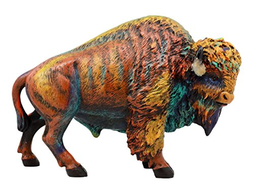 Atlantic Collectibles Wild & Free Colorful American Bison Figurine 9.25