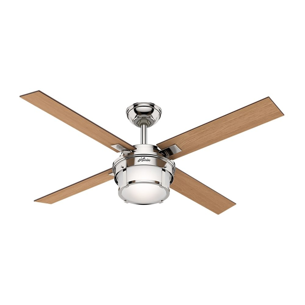 MD Group Ceiling Fan Standard 3 Speed Motor Polished Nickel w/ Remote & LED Light Kit by MD Group