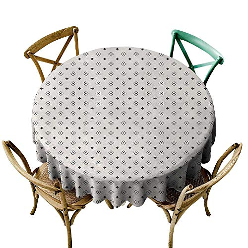 Wendell Joshua Round Outdoor Tablecloth 50 inch Geometric,Old Fashioned Wallpaper Design with Floral Like Geometrical Icons Art,Charcoal Grey Beige Suitable for Indoor Outdoor Round Tables ()