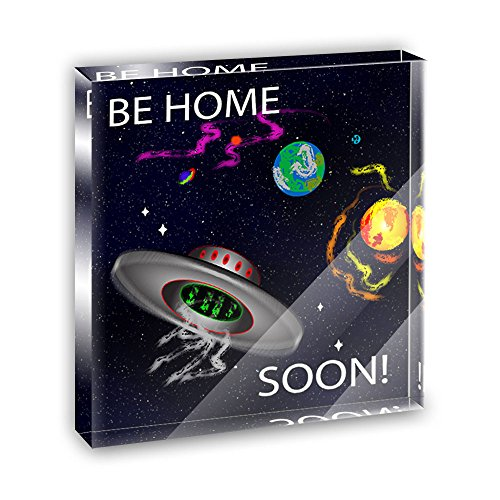 Flying Saucer UFO Planets Space Be Home Soon Square Acrylic Office Mini Desk Plaque Ornament Paperweight