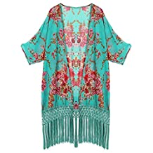Honeystore Women's Sheer Floral Kimono Cover Ups Tassels Crochet Beach Swimsuit