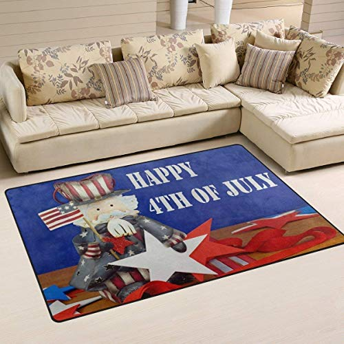 - Independence Day Cute Uncle Sam Sitting on Wooden Table Fabric Rug Indoor Outdoor Front Door Shower Bathroom Doormat 23.6