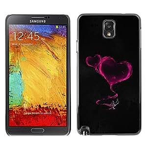Qstar Arte & diseño plástico duro Fundas Cover Cubre Hard Case Cover para SAMSUNG Galaxy Note 3 III / N9000 / N9005 ( Smoke Hearts Neon Pink Lamp Magucal Fairytale)