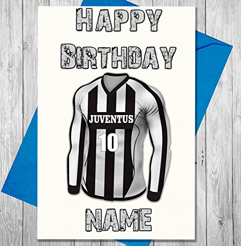 Price comparison product image AKGifts Personalised Juventus Football Birthday Card - Any Name And Numbered Shirt (7 - 10 BUSINESS DAYS DELIVERY FROM UK)