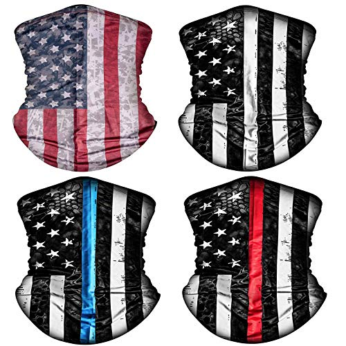 4 Pack American US Flag Face Bandana Balaclava for Men Women, Reusable Washable Cloth Fabric Neck Gaiter Mask Scarf