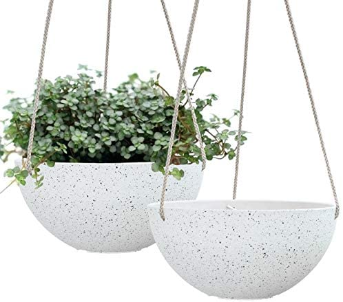 Hanging Planters for Indoor Plants Flower Pots Outdoor 9.9 inch Resin Planters and Pots, Set of 2