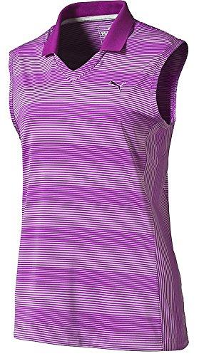 Puma Golf Women's Dense Stripe Sleeveless Polo, Purple Cactus Flower, Small (Jersey Polo Stripe Bold)
