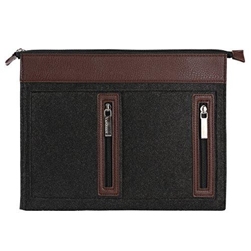 Trim Jumper (Vangoddy 12 Inch Exo Woolen Felt Zipper Carrying Sleeve (Brown Trim) for Dragon Touch A1 Plus / i10X 10.1