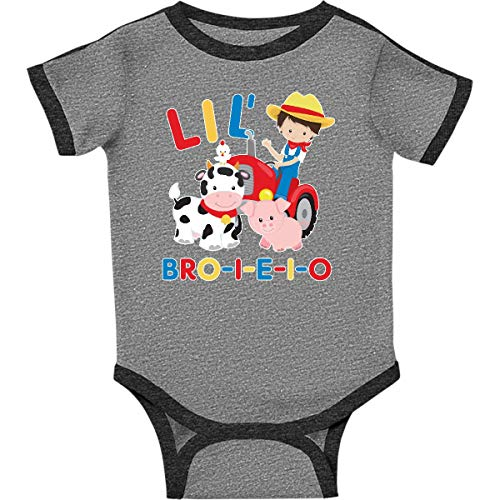 inktastic Farmer Tractor EIEIO Infant Creeper 24 Months Ringer Heather and Smoke ()