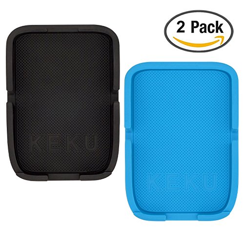 KEKU 2Pack Rubber Non-Slip Pad Washable Washable Reusable Automotive Dashboard Interior Pad Holder's GPS MP3 MP4 Phone iPhone Handset Key Sunglasses Coin (Black + Blue)
