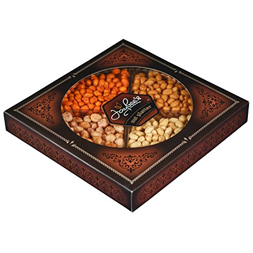 Jaybee's Nuts Gift Tray - Great Birthday, Corporate, Holiday Gift or as Everyday Snack - Tasty Toffee Peanuts, Spicy Red, Honey Roasted & Fresh Salted Peanuts, Vegetarian Friendly and (Nut Platter)