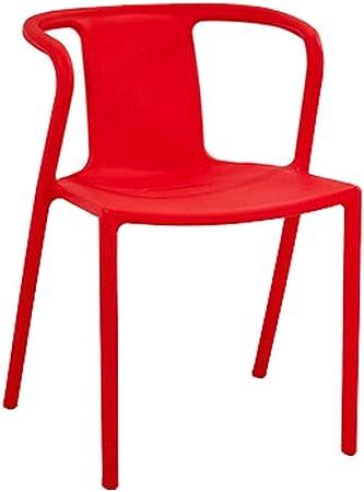 Ligeras Silla Silla De Plástico para Adultos - Sillón Creativo para Comedor/Inicio/Ordenador/Atrás/Jardín/Exterior Negro 44x44x72CM Desmontable Muebles Sala (Color : Red): Amazon.es: Hogar