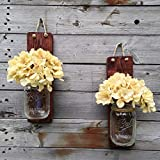 Tennessee Wicks Handcrafted Rustic Mason Jar Wall Wooden Sconce, Set of 2, With Optional Off White Hydrangea Spray … Review