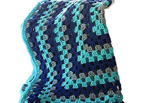 (Granny Square Blanket, Hand Crochet Blue Baby Boy Crib Stroller Carseat Afghan)