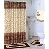 Coffee 18 Piece Bathroom Set 2 Rugs Mats 1 Fabric Shower Curtain 12 Fabric Covered Rings 3 Pc Decorative Towel Set