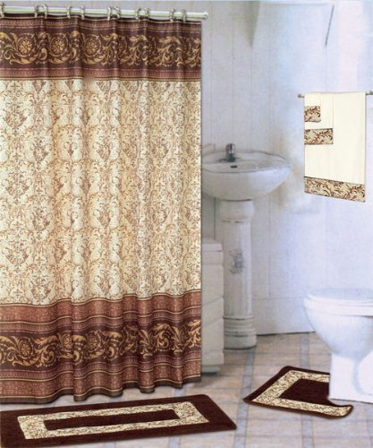 Coffee 18 Piece Bathroom Set 2 Rugs Mats 1 Fabric