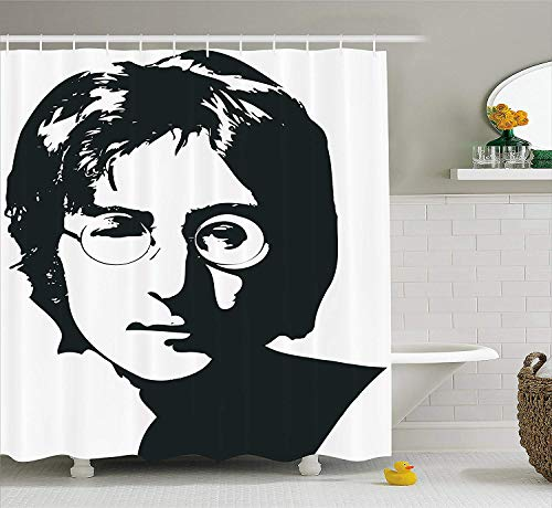 Beatles Portrait - ROBIN GREEN John Lennon Decor Shower Curtain by, Classical Popular Portrait The Beatles Frontman Monochrome Drawing, Fabric Bathroom Decor Set with Hooks, 75 Inches Long, Dark Brown White