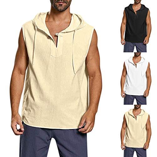 Tanktop voor heren, mouwloos, hoodie, workout, sport, fitness, hoodie, mannen, gym, muscle shirt, top, trainingsvest…