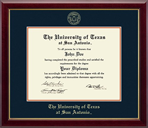 Texas San Antonio Seal (University of Texas San Antonio Gold Embossed Diploma Frame - Features Solid Hardwood