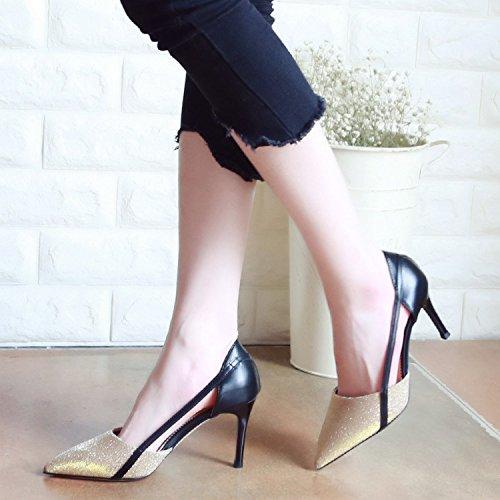 Xue Qiqi Gerichtshof schuhe Fashion Tipps Frauen Schuhe Fein mit High-Heel Schuhe Flache Mund Einzelne Schuhe Weiblich Gold