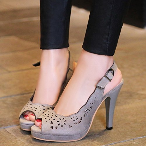 TAOFFEN Mujer Elegante Peep Toe Sandalias Tacon Embuda Tacon Alto Slingback Zapatos De Boda Gris