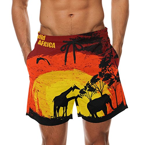 LORVIES Men's Sunset in Wild Africa Beach Board Shorts Quick Dry Swim Trunk by LORVIES