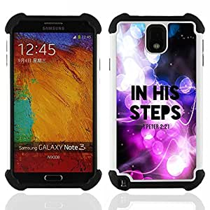 GIFT CHOICE / Defensor Cubierta de protección completa Flexible TPU Silicona + Duro PC Estuche protector Cáscara Funda Caso / Combo Case for Samsung Galaxy Note 3 III N9000 N9002 N9005 // BIBLE In His Steps - Peter 2:21 //