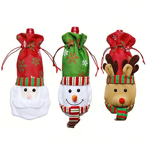 HansGo Christmas Wine Bottle Cover, 3 Pack Bottle Cover Bags Christmas Table Decoration for Christmas Party Dinner Decoration Gift