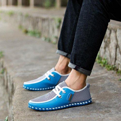 OverDose Mode Herbstschuhe Mixed Colors Flats Breathable Schuhe Sportschuhe Freizeit Schuhe Casual Shoes A-Sky Blue