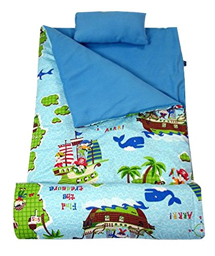 SoHo kids Classic children sleeping slumber bag with pillow and carrying case lightweight foldable for sleep over(The Pirates ()
