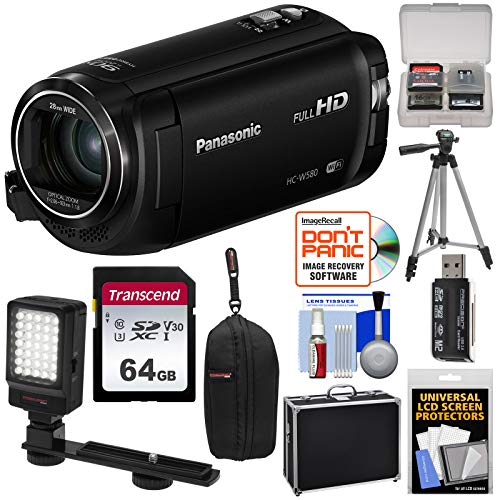 - Panasonic HC-W580 Twin Wi-Fi HD Video Camera Camcorder with 64GB Card + Hard Case + Tripod + LED Light + Reader + Kit
