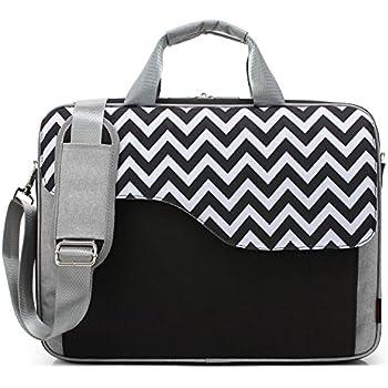 CoolBELL 15.6 Inch Nylon Laptop Bag Shoulder Bag With Strap Multicompartment Messenger Hand Bag Tablet Briefcase For iPad Pro / laptop / Macbook / Ultrabook / Men / Women / College (Black Wave)