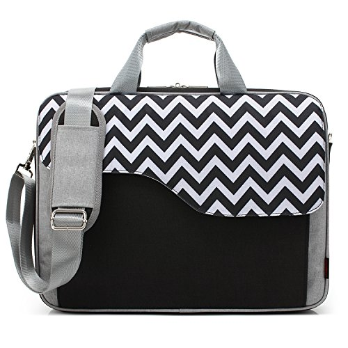 CoolBELL 15.6 Inch Nylon Laptop Bag Shoulder Bag with Strap Multicompartment Messenger Hand Bag Tablet Briefcase for iPad Pro/Laptop / MacBook/Ultrabook / Men/Women / College (Black Wave)