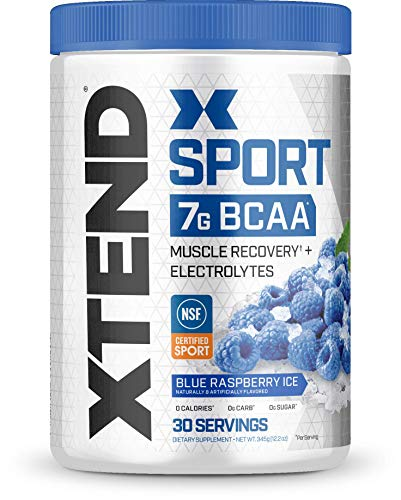 Scivation Xtend Hydrasport BCAA Powder, Branched Chain Amino Acids, BCAAs, Zero Sugar Electrolyte Drink Powder + Hydration, Blue Raspberry, 30 Servings ()