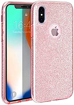 Coovertify Funda Purpurina Brillante Rosa iPhone X/XS, Carcasa ...