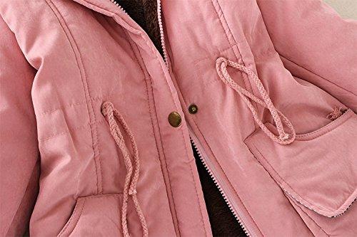 Au Rose Capuche Couleur Éclair Coton Et Mode Manteau Garder Top La Veste À Longue Yebiral Poche Femmes Hiver Chaud Section De Unie Automne Avec Coupe Slim Moyenne Fermeture qvpt1wX