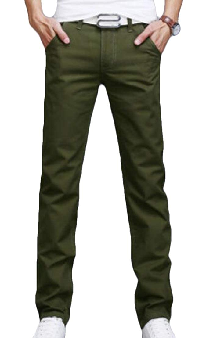 GRMO Men Thin Solid Workwear Casual Straight Leg Slim Fit Pants Trousers