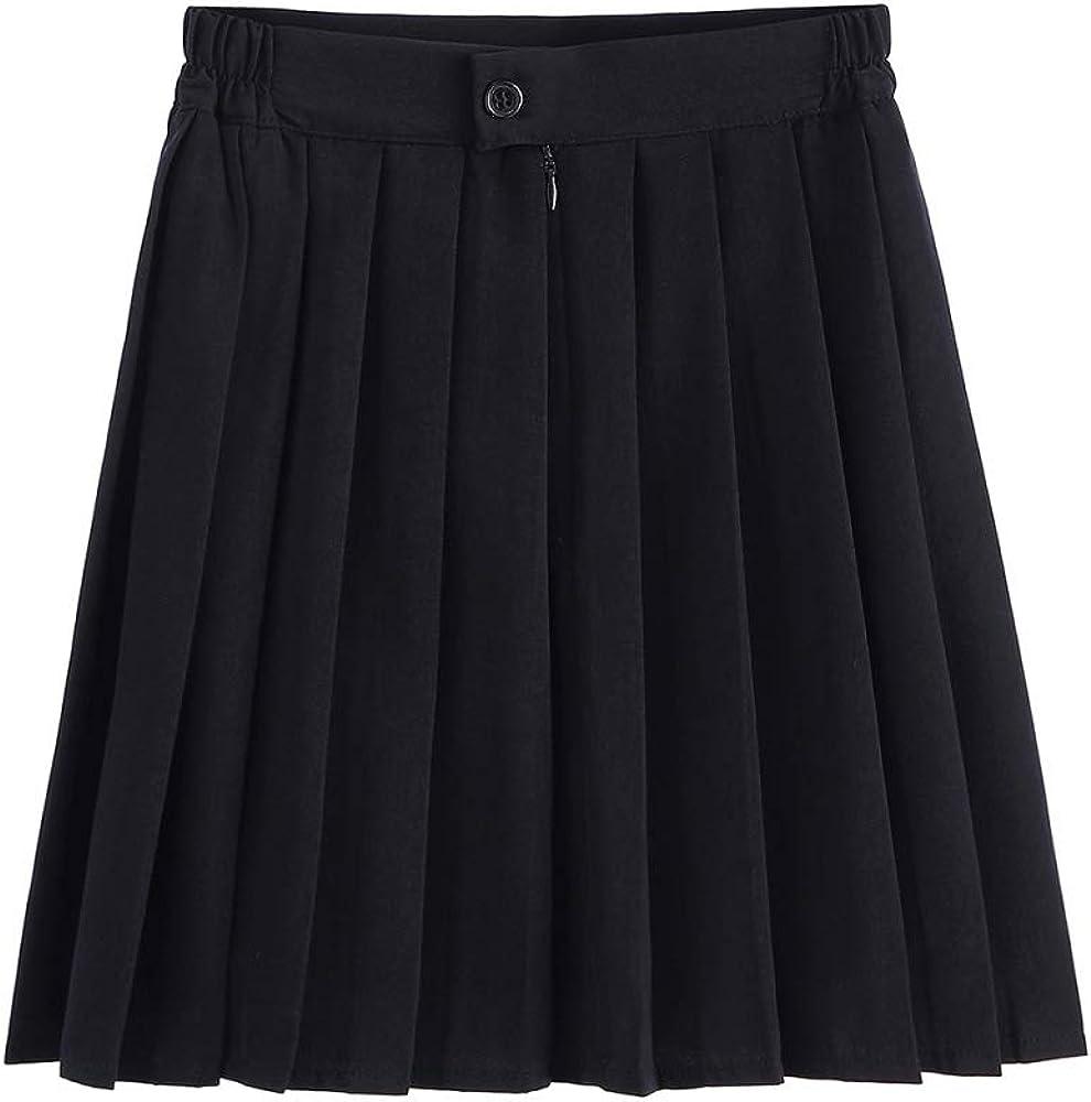 Falda plisada negra con cintura elástica para mujer