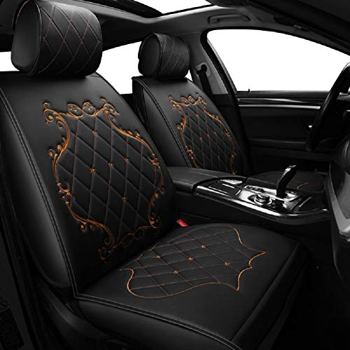 Skysep Ladies Crown Car Seat Covers, Fully Surrounded queen Seat,Winter Leather Seats Car,PU Leather And 3D Breathable Fabric (BLACK-GOLD):