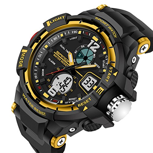 Sport LED Calendar Alarm Analog&Digital Dule Time Waterproof Rubber Strap Men Boy Wristwatch,Black Yellow (Alarm Chronograph Analog)