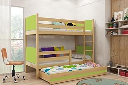 Interbeds TAMI - Litera infantil con cama nido extraíble con colchones gratuitos, cama de madera de pino maciza para niños, colores de cree. 160x80, 190x80, 190x90, 200x90, Verde, 160x80: Amazon.es: Hogar