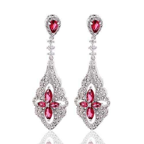 GULICX Flower Clover Cubic Zirconia Dangle Chandelier Earrings Silver Tone Finish Red Ruby Color
