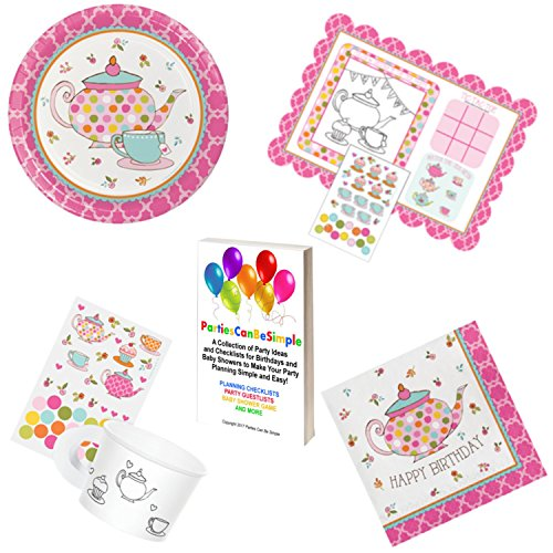 Price comparison product image Tea Time Birthday Party Supplies Girls Tea Party Paper Tea Cups Activity Placemat Plates Napkins for 8 Guests from Parties Can Be Simple