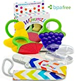 Best Teething BPA-free Silicone Toys for Baby and Toddler by Wimmzi - Set of Freezer Safe Teethers for Infant 's Gums Pain Relief, Pacifier Clip / Teether Holder and Finger Toothbrush / Case