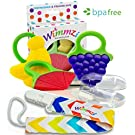 Wimmzi Infant and Toddler Teething Toys: BPA-free Silicone Teethers, Pacifier Clip / Teether Holder, Finger Toothbrush and Case, Best for Baby 's Gums Pain Relief, Freezer / Dishwasher Safe, Set of 5