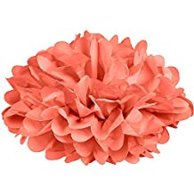 Dress My Cupcake DMC7311 14-Inch Coral Peach Tissue Paper Pom Poms, Set of 4