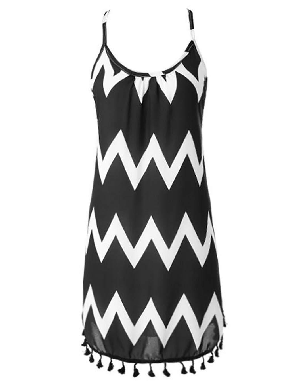 Dieron Women Summer Causal Chiffon Halter Dress Stripes Loose Sexy Dress,Black