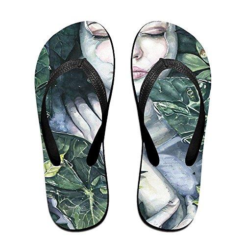 Unisex Naturen Omhelzen Zomer Riem Slippers Strand Slippers Platforms Sandaal Voor Mannen Vrouwen Zwart