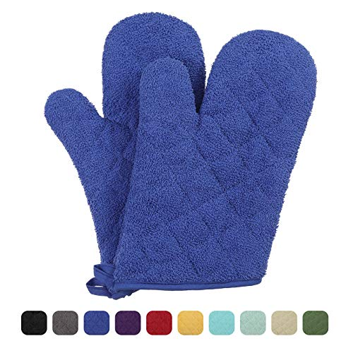 VEEYOO 100% Cotton Oven Mitts Heat Resistant Kitchen Oven Gloves Machine Washable Terry Oven Mitts (7.5x12, Royal Blue)