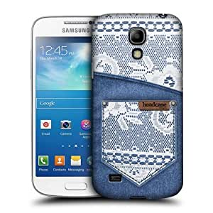 AIYAYA Samsung Case Designs White Lace On Denim Pocket Jeans and Laces Protective Snap-on Hard Back Case Cover for Samsung Galaxy S4 mini I9190 Duos I9192